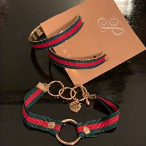 Plunder red and Green earring and bracelet